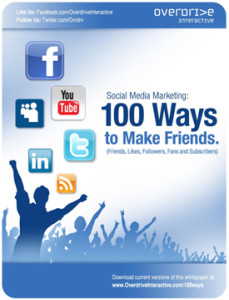 This is an image of the Social Media Marketing Guide: 100 Ways to Make Friends. The guide will help marketers increase their social connections on social networking sites.